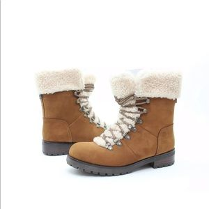 Ugg Fraser sheepskin and suede combat booties